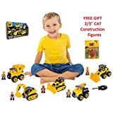 Caterpillar ( CAT) - 46 Pieces Construction Machine Maker Junior Operator Building Toy Set Includes Dump Truck, Bulldozer, Excavator, Car Service Truck and Wheel Loader, Machine Operators - FREE GIFT