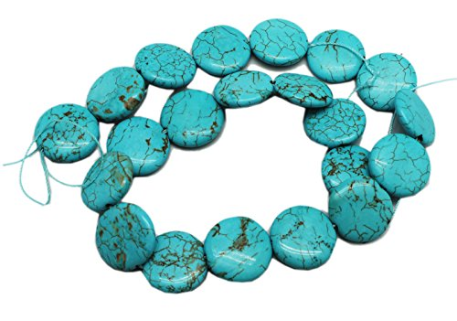 (20x5mm Blue Turquoise Coin Bead Strand With Rusty Matrix (21)