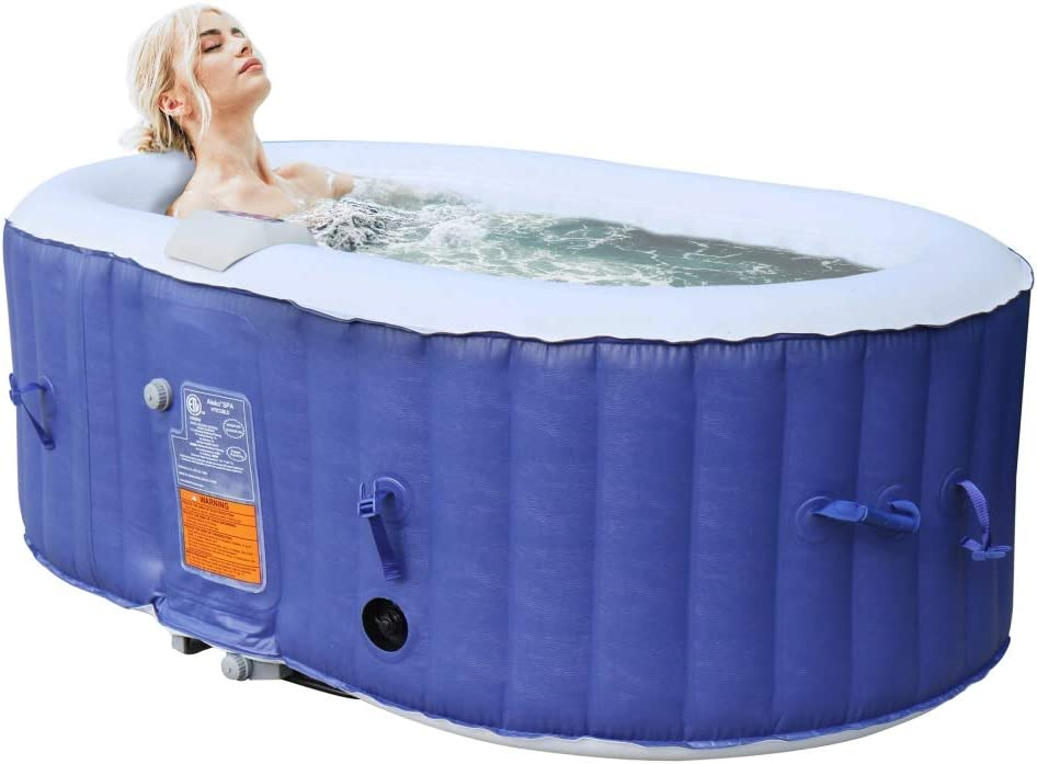 Aleko Htio2bld Oval Inflatable Hot Tub Spa With Drink Tray And Cover 2 Person Portable Hot Tub 145 Gallon Dark Blue Home Kitchen