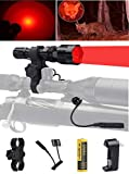 Ulako 250 Yards Range Red Light Tactical Flashlight with Scope Sight Mount for Coyote Hog Pig Varmint Predator Hunting