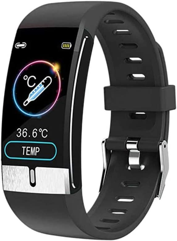 QXbecky Reloj Inteligente La última Pulsera Inteligente Monitor de Temperatura Corporal frecuencia cardíaca presión Arterial Salud Reloj Inteligente a Prueba de Agua Reloj Bluetooth Negro