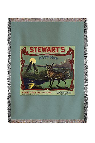 (Lantern Press Stewart's Coyote Brand - Upland, California - Citrus Crate Vintage Label 57725 (60x80 Woven Chenille Yarn Blanket))