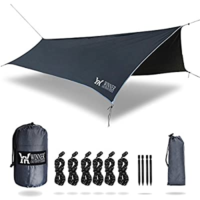 WINNER OUTFITTERS Hammock Rain Fly,RIPSTOP NYLON Waterproof Tent Tarp Shelter for Camping,Backpacking,Hiking in Sunshade,Moisture,Rain,Lightweight&Portable,Easy Set Up(HEX/Diamond)