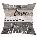 Retro Wood Grain Grateful Love Believe Thankful Blessed Cotton Linen Throw Pillow Covers Cushion Cover Decorative Sofa Bedroom Living Room Square 18 Inches (26)