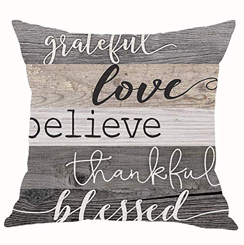 - Retro Wood Grain Grateful Love Believe Thankful Blessed Cotton Linen Throw Pillow Covers Cushion Cover Decorative Sofa Bedroom Living Room Square 18 Inches (26)