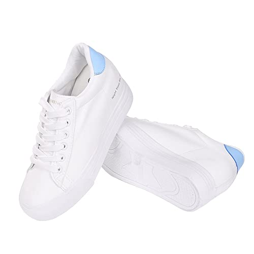146a651ae3a63 Women Fashion Leather Sneakers Casual Lace up White Black Flat Shoes High  Top Hidden Heel Wedges Platform Shoes