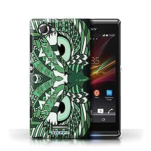 KOBALTA® Protective Hard Back Case / Cover for Sony Xperia L/C2105 | Owl-Green Design | Aztec Animal Design Collection, [Importado de Reino Unido]