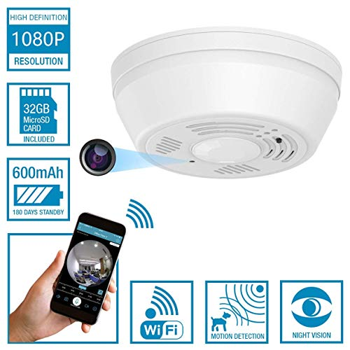 Dummy Smoke Detector WiFi Motion Detection Hidden Surveillance Camera NuCam SD w. 180 Days Standby Battery Power w. 32GB Memory Card Night Vision Top View Nanny Covert Camera Home Security