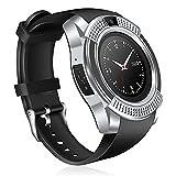 Rampmu Bluetooth Smart Watch Fitness Pedometer Sleep Monitor Tracker SD Card SIM Card Smart Watches (Sliver-Gray)