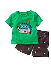 Hooyi Baby Boy Sleepwear Cotton Children Short Sleeve Monkey Pajamas Set