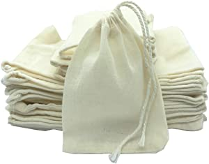 Cotton Drawstring Muslin Bags, Lovezeu 50 Pieces Many Uses Muslin Bag Sachet Bags for Birthday Party, Gift Bags, Small Gifts, Party Favor, Wedding, Home Supplies(3x4 Inches)