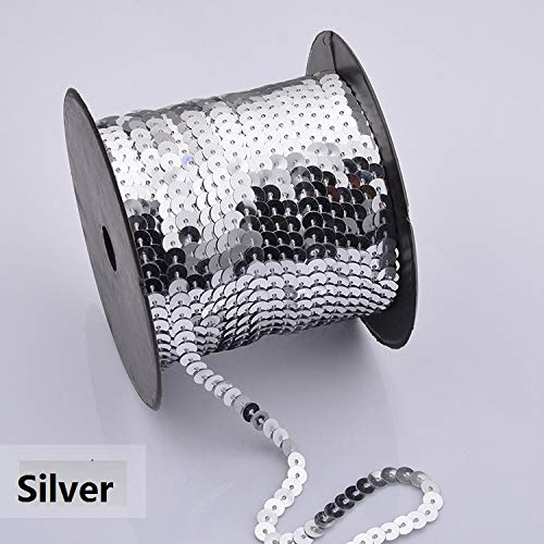 Crafts - Supplies 100 Yards/Roll 6mm Round Flat Sequins Sewing on Silver Trims for Crafts Cloth Accessory Round Sequins Trim - (Color: Laser Silver)