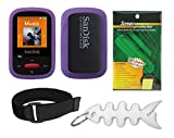 Purple Soft Skin Case + Screen Protector + Armband + Smart Cord Wrap for SanDisk (SDMX24) Clip Sport 4GB 8GB MP3 Player