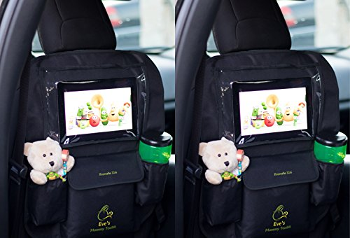 qty-2-kick-mats-back-seat-car-organizers-with-auto-seat-protector-touch-screen-pocket-for-ios-androi