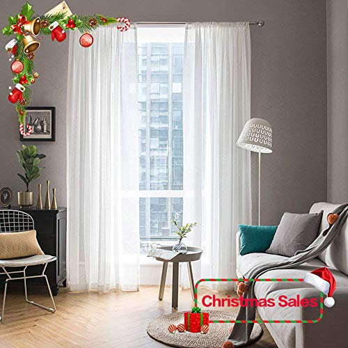 MIULEE 2 Panels Solid Color White Sheer Window Curtains for Christmas Elegant Window Voile Panels/Drapes/Treatment for Bedroom Living Room (54X108 Inches White) (Curtains Long Inches Sheer 108)