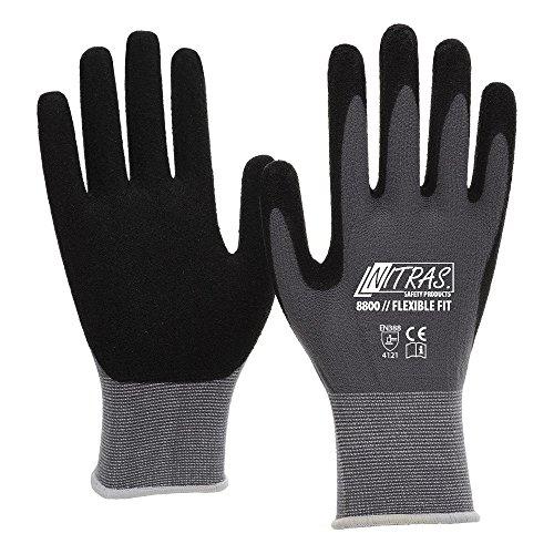 3 Pairs Work gloves Nitras 8800 EN 388 Flexible Fit - Mechanic gloves work...