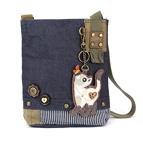 Messenger Patch Cat Blue Chala Slim Bag Canvas Denim Denim Women Cross Handbag Body gdO8Hwq