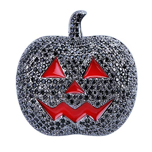 (JINAO Full Iced Out Jack O'Lantern Halloween Simulated Lab Diamonds Pumpkin Pendant Necklace (Black,)