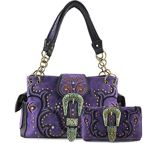 Justin West Patina Girl Western Bronze Floral Buckle Handbag Purse Tote and Strap Wallet (Purple Handbag and Wallet)
