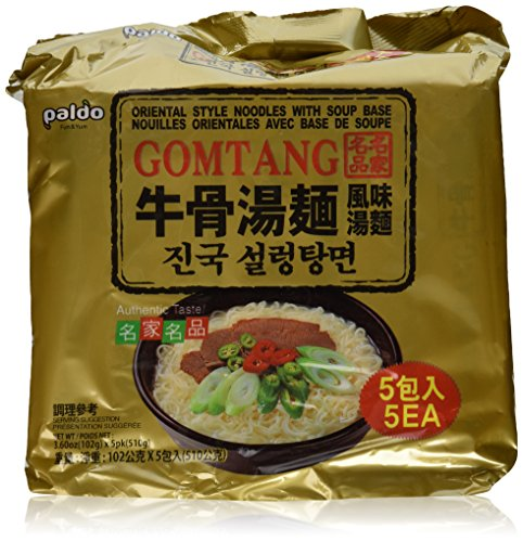 Oriental Noodle (5-pack of Paldo Gomtang Oriental Style Noodles with Beef Soup Base, 5x102 G, Made in Korea)