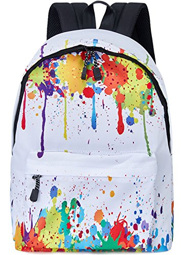 Leapparel Funky Fashion Lightweight backpack Perfect Gift for Back to School White Colorful Tie-dye Oil Paint Good Quality Simple Grade School Knapsacks for Ladies Guys Youth Junior Teenage Girls Boys -