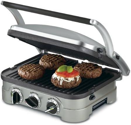 Cuisinart GR-4N 5-in-1 Griddler, 13.5″(L) x 11.5″(W) x 7.12″(H), Silver with Silve