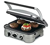 Compact in size but big in features, Cuisinart's countertop Griddler offers five-in-one functionality as a contact grill, panini press, full grill, full griddle and half grill/half griddle. The stylish brushed stainless-steel housing looks slee...