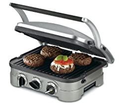 With five separate cooking options, the Cuisinart; Griddler; can handle everything from pancakes and sausages to grilled cheese to steaks, hamburgers, and panini. A floating cover and one set of reversible plates turn the Griddler; int...