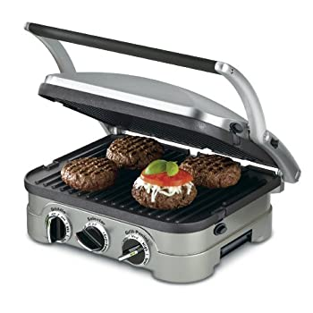 Set A Shopping Price Drop Alert For Cuisinart GR-4N 5-in-1 Griddler, Silver, Black Dials
