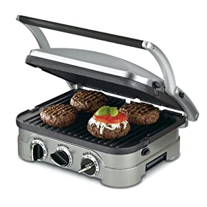 "Cuisinart GR-4NP1 5-in-1 Griddler, 13.5""(L) x 11.5""(W) x 7.12""(H), Silver With Silver/Black Dials 1"