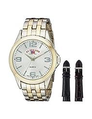 U.S. Polo Assn. Men's Two Tone Bracelet Two Interchangeable Watch Set Silver US2038