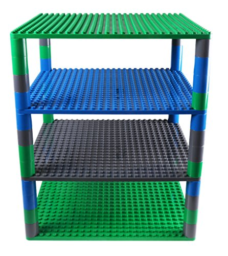 Premium Blue, Gray, and Green Tower Organizer Set includes 48 Round Stackers and 4 baseplates - Compatible with All Major Large Size Brands - Large Pegs Only- 16.25