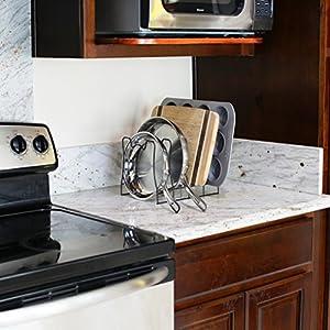 SimpleHouseware Kitchen Pan and Pot Lid Organizer Rack holder, Bronze