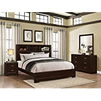 Roundhill Furniture Montana Modern 4-Piece Wood Bedroom Set with Bed, Dresser, Mirror, Nightstand, Queen, Walnut