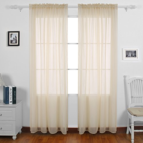 Deconovo Crinkle Sheer Curtains Rod Pocket Voile Sheer Window Curtains for Girls Room 52x63 Inch 2 Panels Beige (Crinkle Voile Curtain Panel)