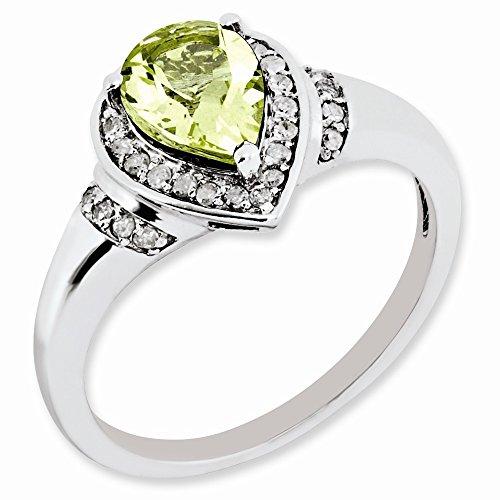 Pear Shaped Lemon Quartz & 0.16 Ctw (H-I Color, I2-I3 Clarity) Diamond Sterling Silver Ring Sz 7