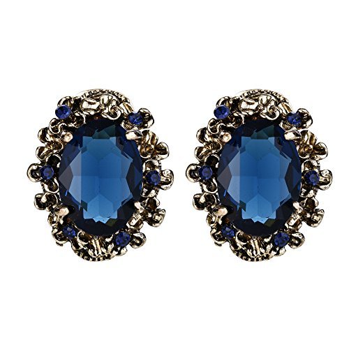 BriLove Antique-Gold-Toned Stud Earrings Women's Victorian Style Crystal Floral Scroll Cameo Inspired Oval Earrings Sapphire Color