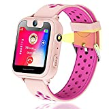 Kids GPS Tracker Smart Watch Phone, Vannico Smart Watches for Girls Boys 1.44'' Touch Screen Sim Card Game Smartwatch with SOS, Camera, Flashlight for Children Gift (Pink)