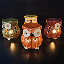 Ivenf 4 Pack Owl Shape Ceramic Tea Light Holder/Wax Melt Warmer, Aromatherapy Essential Oil Burner, Great Decoration for Living Room, Balcony, Patio, Porch & Garden