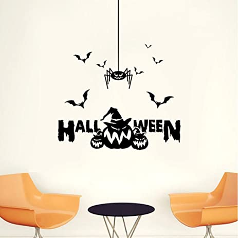 Sinwo Happy Halloween Witch Batspumpkin Wall Sticker Window Home Decoration Decal Decor Halloween Decor