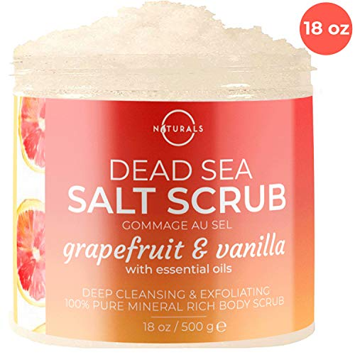 O Naturals Exfoliating Grapefruit Essential Oil, Vanilla Dead Sea Salt Body Scrub. Hydrates. Anti Cellulite. Treats Ingrown Hairs, Acne, Blackheads, Blood Circulation Dead Skin Remover Almond Oil 18Oz