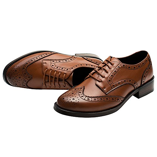 rismart Womens Brogue Pointed Toe Wingtips Work&Wedding Dress Leather Oxfords Shoes Brown vzlVhmmzE