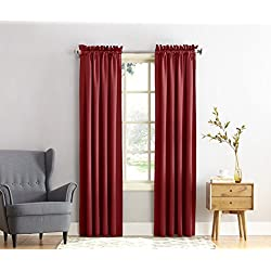 "Sun Zero Barrow Energy Efficient Rod Pocket Curtain Panel,Brick Red,54"" x 84"""