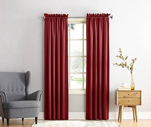 "Sun Zero Barrow Energy Efficient Rod Pocket Curtain Panel,Brick Red,54"" x 84"""