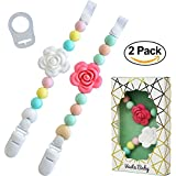 Vesta Baby Pacifier Clips with Silicone Teething Beads for Girls, MAM Pacifier Clip Adapter, Soothie Pacifier Holder & Baby Teether Holder, Universal Binky Clips are Best Baby Girl Gifts, Set of 2