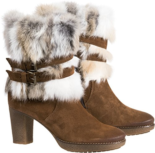 Women's Overland Elise Suede Boots With Rabbit Fur Trim (Suede Trim Heel Fur High)