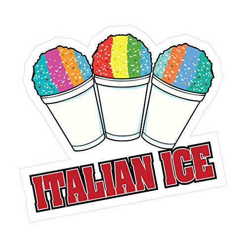 Die-Cut Sticker Multiple Sizes Italian Ice Style J Retail Italian Ice Indoor Decal Concession Sign red - 10in Longest Side