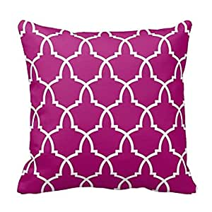 Deep Pink and White Trellis Design Decorative Pillow Case Covers Geometric Lattice Pattern for Sofa Two Sides 16X16 Inch