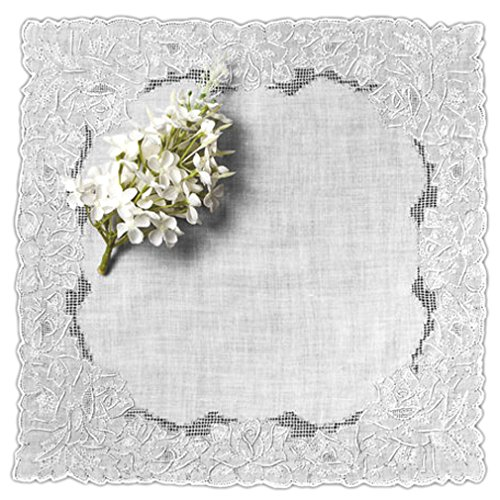 - Women's Handkerchief White Fine Cotton Inch with Madeira Rose Whitework Embroidery