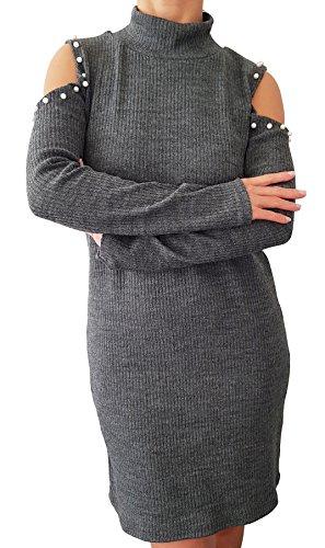 Pull-robe avec perles manche longue - Gris - Taille unique